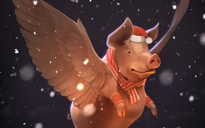 Picture snow, new year, wings, pig, by GaudiBuendia