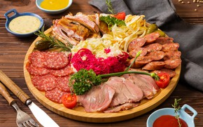 Picture meat, tomatoes, cabbage, sausage, cucumbers, cuts, sauces