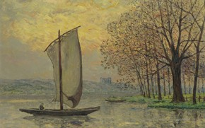 Picture landscape, boat, picture, sail, 1910, Maxime Maufra, Maxim Mora, The Banks Of The Loire