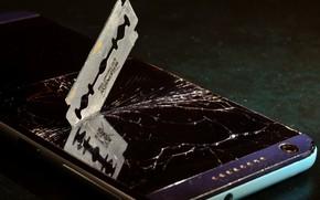 Picture glass, cracked, the dark background, blade, phone, screen, broken glass, broken, smartphone, cell phone, broken …