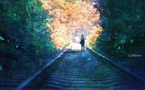Picture girl, nature, rails, by Lifeline