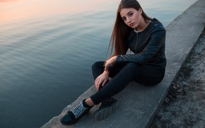 Picture look, pose, river, model, portrait, jeans, makeup, shoes, jacket, hairstyle, brown hair, sitting, promenade, in …
