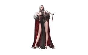 Picture Girl, Fantasy, Beautiful, Sexy, Art, Style, Minimalism, Characters, Dress, Fur, Figure, Daeho Cha, Smoking Pipe, …