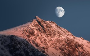 Picture winter, the sky, snow, nature, rock, the moon, mountain, Norway, The Lofoten Islands