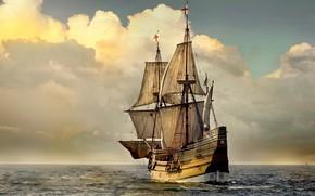 Picture sea, England, sailboat, sails, copy, Мейфлауэр II