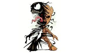 Picture Marvel, venom, venom, symbiote, baby Groot, baby Groot