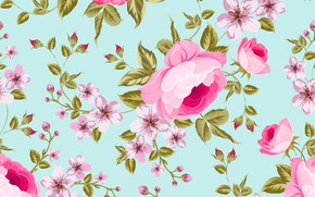 Picture flowers, background, blue, roses, texture, buds, flowers