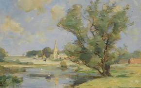 Picture landscape, picture, William Miller Frazer, William Miller Frazer, Morning on the river Nen. Wansford