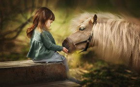 Picture mane, girl, pony, friends, horse