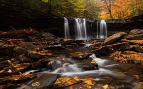 Picture autumn, forest, stones, foliage, waterfall, autumn leaves