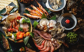 Wallpaper seafood, serving, cuts