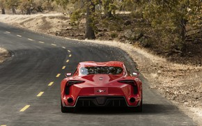 Picture road, red, coupe, Toyota, feed, 2014, FT-1 Concept