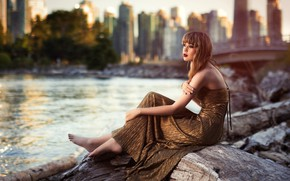 Picture landscape, the city, pose, river, model, portrait, home, makeup, figure, hairstyle, brown hair, legs, sitting, …