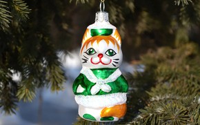 Picture cat, branches, holiday, toy, spruce, pussy, muzzle, New year, tree, needles, hanging, Christmas toy