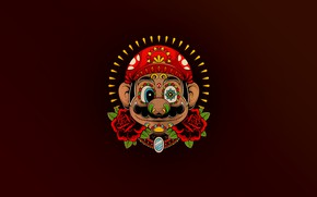 Wallpaper Minimalism, The game, Mexico, Style, Face, Mario, Background, Art, Mario, Super Mario