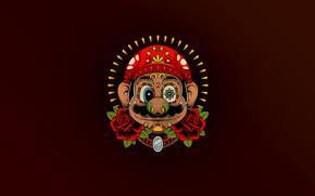 Picture Minimalism, The game, Mexico, Style, Face, Mario, Background, Art, Mario, Super Mario