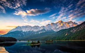 Picture forest, the sky, Islands, clouds, mountains, lake, blue, rocks, tops, Germany, ate, slope, Bayern, Alps, …