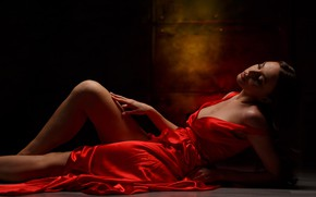 Picture girl, pose, background, neckline, red dress, leg, Константин Астраханцев