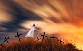 Wallpaper night, cemetery, Ghost