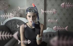Picture girl, fish, glasses, bones, skeletons, Sea Of Dreams