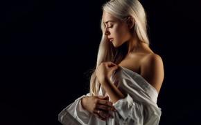 Picture girl, pose, background, portrait, hands, blonde, shoulder, long hair, closed eyes, Sergey Sorokin