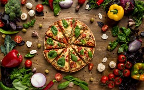 Picture mushrooms, cheese, bow, pepper, vegetables, pizza, tomatoes, wood, fast food, Basil
