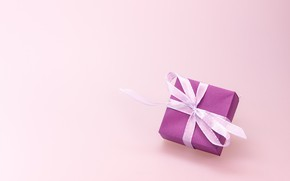 Picture holiday, box, gift, tape, bow, pink background