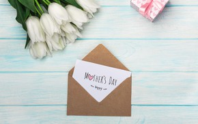 Picture flowers, gift, bouquet, tulips, the envelope, congratulations, Mother's day