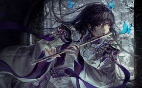 Picture butterfly, fantasy, art, guy, flute, Asian