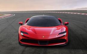 Picture asphalt, lights, Ferrari, sports car, Road, SF90