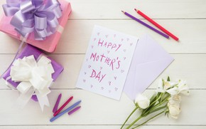 Picture flowers, gifts, congratulations, postcard, composition, Mother's Day