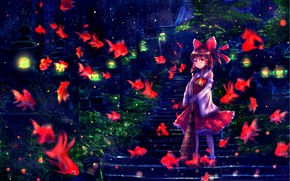 Picture fish, girl, Touhou, Touhou, Touhou