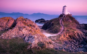 Picture sea, landscape, mountains, nature, rocks, lighthouse, the evening, track, UK, Anglesey