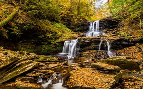 Picture autumn, stones, foliage, waterfall, waterfalls, falling leaves, cascade, Golden autumn