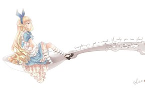 Picture spoon, bow, long hair, Alice in Wonderland, apron, alice, alice in wonderland, blue dress, striped …
