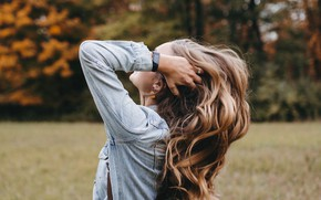 Picture autumn, girl, hair, hands