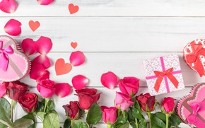 Picture love, flowers, heart, roses, petals, gifts, hearts, love, heart, pink, romantic, gift, petals, roses, valentine`s ...