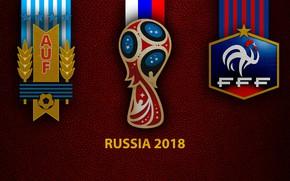 Picture wallpaper, sport, logo, football, FIFA World Cup, Russia 2018, Uruguay vs France