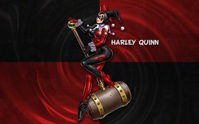 Picture Girl, Lips, Face, Girl, Costume, Eyes, Breast, Hammer, Smiling, harley quinn, Character