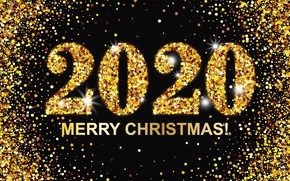 Picture figures, New year, gold, Christmas, New Year, Merry, 2020