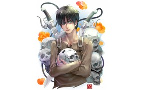Picture skull, guy, Attack Of The Titans, Shingeki No Kyojin, Eren Yeager