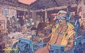 Picture people, the building, ruins, cyborgs, Cyberpunk 2077, Cyberpunk 2077