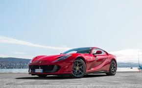 Picture Ferrari, red, pier, Superfast, 812