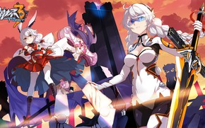 Picture weapons, girls, the game, sword, anime, glasses, Honkai Impact 3rd