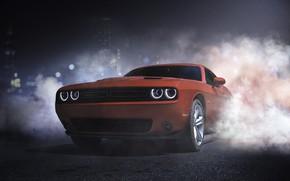 Picture Red, Auto, Road, Night, Smoke, Machine, Dodge, Challenger, Dodge Challenger, Concept Art, Transport & Vehicles, …