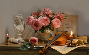 Picture flowers, notes, violin, roses, candles, sculpture, pitcher, still life, bow, bust, Valentina Fencing
