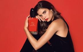 Picture look, girl, perfume, lips, Sara Sampaio, Armani