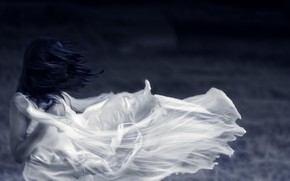 Picture HAIR, DRESS, The WIND, VEIL