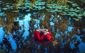 Picture girl, reflection, river, wet, dress, Margo, Anastasia Dobrovolskaya