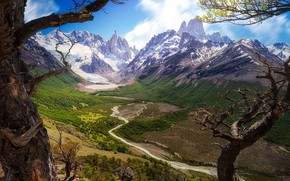 Picture mountains, river, canyon